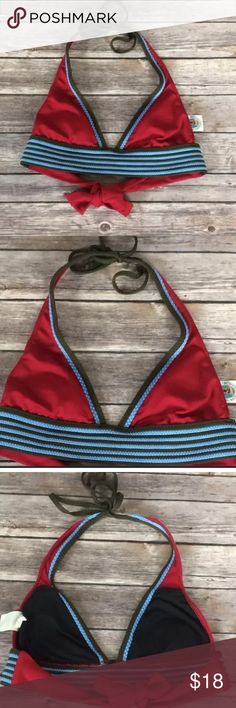 Lucky Brand Triangle Halter Swimsuit Top Great Condition with minimal wear throughout. No flaws or Stains. Red Triangle Top with green and light blue border. Ties at the neck and back. Removable cups. Lucky Brand Swim