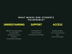 Online Safety and SEN I will look at why it is so important that our most vulnerable students are supported. What is it that makes students with special educational needs so vulnerable? I am primarily talking about those students with complex needs (ASD, SLD, PMLD, etc I apologise for the acronyms).