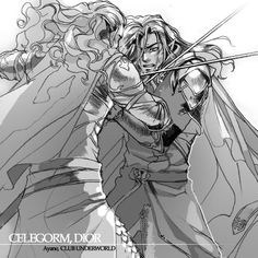 'But Dior returned no answer to the sons of Fëanor; and Celegorm stirred up his brothers to prepare an assault on Doriath. They came at unawares in the middle of winter, and fought with Dior in the Thousand Calves; and so befell the second slaying of Elf by Elf. There fell Celegorm by Dior's hand…' - Of the Ruin of Doriath, The Silmarillion.      Celegorm and Dior, by Ayane
