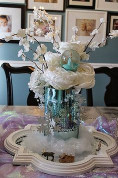 Homemade Frozen New Years Flower Table Centerpiece for 2015 - New Years Decor, Elsa Globe, Bead Garland