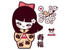 Charuca Kokeshi & Little Bird, illustration kawaii geisha