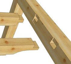 This is two traditional examples of a timber frame purlin joining a principal rafter with tusk tenons and housings.