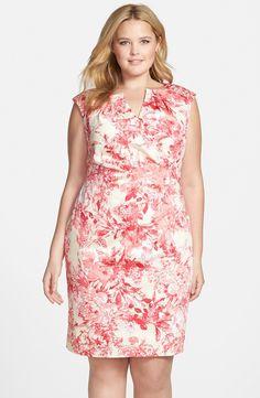 Print Side Pleat Sheath Dress (Plus Size)