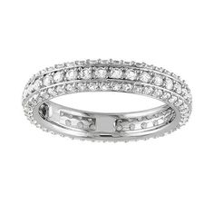 Sterling Silver Lab-Created White Sapphire Eternity Ring   Optional Band For Hillary
