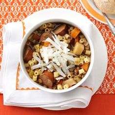 Slow Cooker Lentil and Pasta Stew *I substitute ground beef for kielbasa and tastes great!