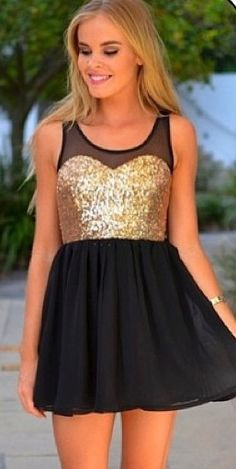 Sparkly little black dress