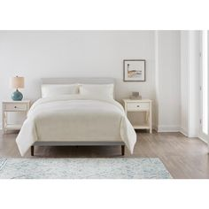 StyleWell Silverton Riverbed Taupe Upholstered King Bed with Square Back and Nailhead Trim (77.2 in W. X 38.60 in H.) XDL2012-BED - The Home Depot King Platform Bed, Platform Bed Frame, Upholstered Platform Bed, Upholstered Beds, Bedroom Colors, Bedroom Decor, King Size Headboard, Bed Slats, Bed Styling