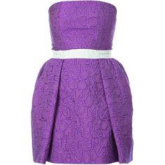 Mary Katrantzou 'JQ Rayner' dress' ($790) ❤ liked on Polyvore featuring dresses, mary katrantzou, purple skater skirt, high waist dress, purple strapless dress, flared skirt and purple dress