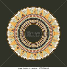 Circle ornament. Round frame, rosette of ancient elements. Egyptian national antique round pattern, vector. - stock vector