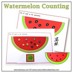 Watermelon Mats for Counting. Early Childhood and Kindergarten teaching resource.