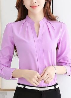Cheap blous, Buy Quality shirt pink directly from China shirt sample Suppliers: 2017 Women Shirts Blouses Long Sleeve Stand Collar Elegant Ladies Chiffon Blouse Tops Fashion Office Work Wear Chemise Femme Casual Work Wear, Magazine Mode, The Office Shirts, Casual Tops, Shirt Blouses, Blouse Designs, Blouses For Women, Ideias Fashion, Womens Fashion