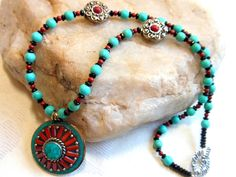 Tibetan turquoise and coral pendant necklace, black onyx, turquoise magnesite and coral beads, silver decorative beads, white bronze toggle by #EyeCandybyCathy on Etsy