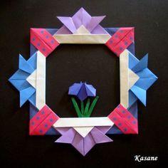 おりがみ かぶとのリースと兜 - おりがみと日記とパソコン遊び Origami Wreath, Origami Paper, Origami Modular, Barn Quilts, Kirigami, Paper Craft, Paper Folding, Collage, Stationery Shop