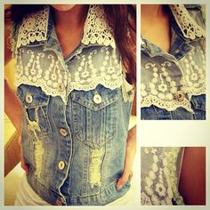 Love This Denim Vest... I would wear it open with a cream colored tank underneath <3