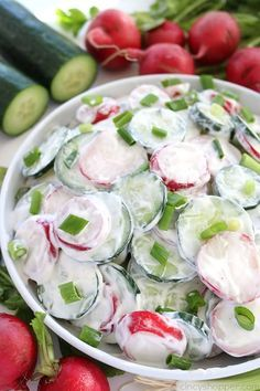This Creamy Cucumber Radish Salad will be a great side dish for your summer dinners, picnics, or family BBQ's. The salad is loaded with fresh cucumbers, radishes, and coated in a creamy garlic dressing #SummerSalad