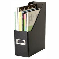 Snap-N-Store Fiberboard Magazine File with PVC Laminate, 12.25 x 3.88 x 9.75 Inches, Black (SNS01565) Snap-N-Store http://www.amazon.com/dp/B000GLTMDO/ref=cm_sw_r_pi_dp_4b1Vtb17RJ2JQC83