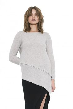 Womens Long Sleeve Light Grey Lea Pullover Sweater Cashmere By One Grey Day Pullover Sweaters, Cashmere, Bell Sleeve Top, Tunic Tops, Turtle Neck, Grey, Long Sleeve, Shirts, Clothes
