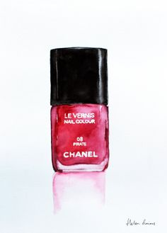 Watercolor Chanel red nail polish by Helen Simms #watercolor #chanel #illustration
