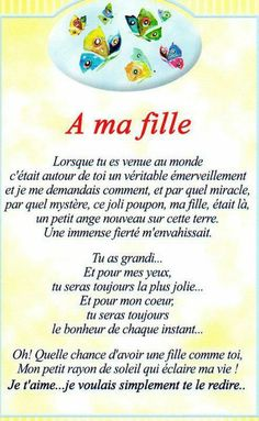 "Citations option bonheur: Panneau ""A ma fille"" Of My Life, Belles Phrases, Beau Message, To My Daughter, About Me Blog, Martini, Affirmations, Messages, Adolescence"