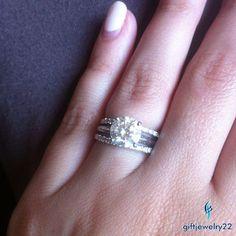 14K White Gold 925 Sliver D/VVS1 Diamond Wedding Band Engagement Bridal Ring Set #giftjewelry22