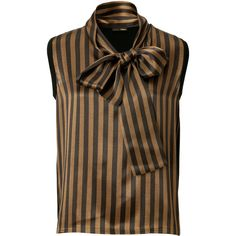 FENDI Wool Striped Bow Top In Black/Tobacco ($460) ❤ liked on Polyvore featuring tops, blouses, shirts, striped, striped blouse, horizontal striped shirt, striped sleeveless shirt, stripe blouse and bow neck blouse