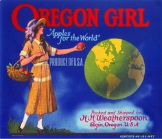 Elgin Oregon Girl Apple Apples Fruit Crate Label Art Vintage Advertising Print in Collectibles, Advertising, Merchandise & Memorabilia | eBay