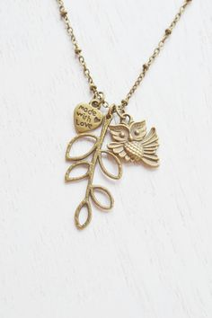 owl necklace,leaf necklace,bridesmaid jewelry,made with love,branch necklace,bird jewelry,owl charm necklace,whimsical,owl tree necklace,skeleton leaf,heart jewelry,nature jewelry