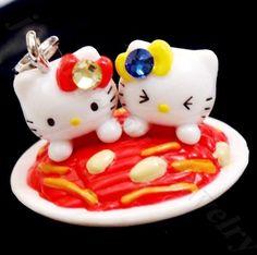 Hello Kitty Twins Love Noodles Swarovski Elements Crystals Japan Pendant Charm