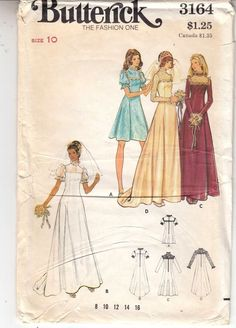 Wedding Bridesmaid Dresses Retro 1970s Simplicity Sewing Pattern 3164 Size 10 #Simplicity #fitandflare