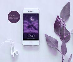 Violet Sky Silhouette Phone Wallpaper - Instant Digital Download von TerraSomniaArt auf Etsy Photo Library, Digital Image, Silhouettes, Etsy, Iphone, Wallpaper, Instagram, Data Processing, Phone Wallpapers