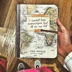 ▷ 1001 + Ideas for Adventure Journal Designs for Your Inner Traveler Travel diary, a brown hand holding a notebook, with a yellow and green world map on the front page, shoes, wooden boards Diy Photo, Journal Inspiration, Travel Inspiration, Journal Ideas, Photos Voyages, Travel Maps, Nice Travel, Travel Journals, Travel Destinations