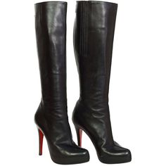Pre-owned CHRISTIAN LOUBOUTIN Black Leather Tall Boots sz 37.5 (3.375 BRL) ❤ liked on Polyvore featuring shoes, boots, mid-calf boots, high heel boots, tall black boots, thigh high boots and black platform boots