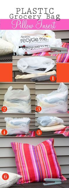 If you already have throw pillows, make them patio-ready by using a grocery-bag insert.
