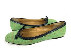 J CREW Ballet Flats Womens 10 Green Leather PLAID Slip On Loafers ITALY #JCrew #LoafersMoccasins #WeartoWork
