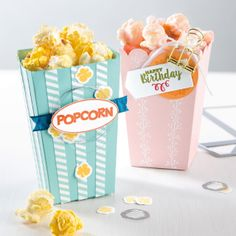 Pop up some fun for birthdays, classroom parties or holiday treats using the Popcorn Box die. PLUS you can create other boxes with this die as well.  Pictures and video posted on my blog. Stampin' Up!, card, paper, craft, scrapbook, rubber stamp, hobby, favors, how to, DIY, handmade, Lisa Curcio, www.lisasstampstudio.com