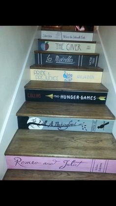 27 Painted Staircase Ideas Which Make Your Stairs Look New Tags: painted staircase, painted plywood stairs, painted stairs black, painted stairs ideas pictures Book Staircase, Staircase Design, Staircase Ideas, Painted Staircases, Spiral Staircases, Stairway To Heaven, Stairway Art, Staircase Makeover, Book Spine