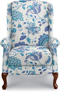 Kimberly High Leg Recliner by La-Z-Boy Just found this upholstery and really like this one, clear white with marine blue in an updated traditional fabric - gorgeous! Traditional Family Rooms, Traditional Fabric, Funky Furniture, Home Furniture, Turquoise Home Decor, La Z Boy, Painted Chairs, Cool Chairs, Upholstered Furniture