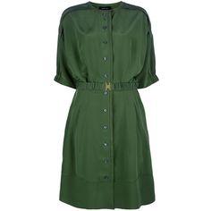 DEREK LAM Silk shirt dress (£451) ❤ liked on Polyvore featuring dresses, shirred dress, button front dress, silk dress, ruching dress and silk shirt dress