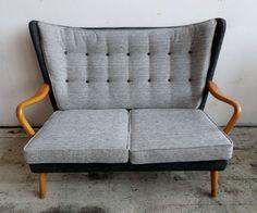 Vtg 50s Mid Century Danish Era Howard Keith Bambino Wingback Sofa & 2 Armchairs