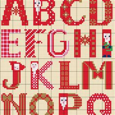 Weihnachtsalphabet sticken - Entdecke hier dieses Motiv und zahlreiche weitere kostenlose Charts und Stickvorlagen zum Sticken. Alphabet Charts, Cross Stitch Alphabet, Alphabet And Numbers, Christmas Alphabet, Old And New, Projects To Try, Xmas, Nordstrom, Embroidery