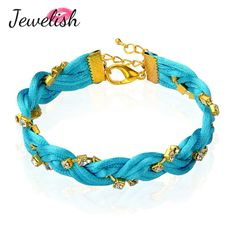 (Free Shipping+Gift Box) Trendy Braided Nylon Thread Bracelets, with Golden Brass Rhinestone Chains & Alloy Lobster Claw Clasps $6.51