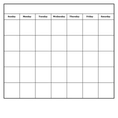 Monthly Calendar template via PDF download