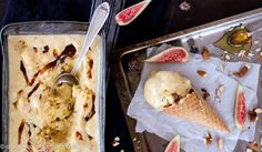 Fig, Honey and Roasted Almond Semifreddo Ice Cream recipe from One Perfect Mess