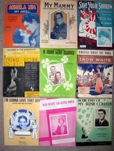 7A Collectible Paper Lot 9 Vintage Sheet Music Variety 1920's -1940's marie2art