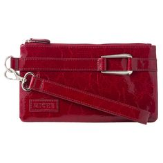 """Wristlet (red patent) $24.95: The Wristlet is the perfect little take-along for your next dinner party or an evening at the club. It comfortably holds your mobile phone, lipstick, credit cards and car keys. This style features patent faux leather in high-energy candy apple red with silver buckle detail. Red/black/grey/tan abstract leopard print fabric-lined interior with three credit card slots; top zipper closure. Dimensions: 4 ½"""" tall x 8"""" long; strap width: ¾""""; strap length: 7""""."""