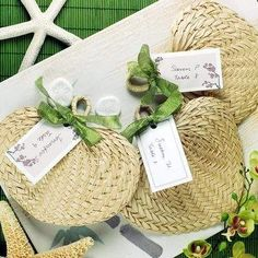 Nothing evokes a tropical ocean breeze like these woven buri fans. Whether you're planning a tropical-themed wedding, beach wedding or any outdoor event in the spring or summer, these practical favors will keep your guests cool and comfortable. Outdoor Wedding Gifts, Wedding Gifts For Guests, Wedding Favours, Party Favors, Outdoor Weddings, Wedding Programs, Wedding Fans, Wedding Themes, Our Wedding