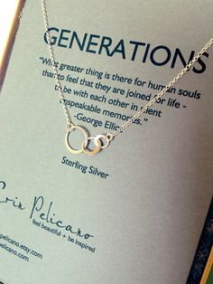 Generations Necklace. Family. Sisters. Mother. Inspirational jewelry