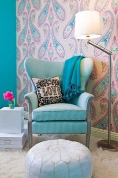 teal chair and pillow
