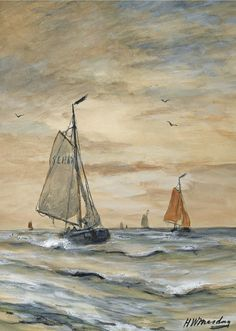 Bomschuiten at Sea, Hendrik Willem Mesdag Watercolor Pictures, European Paintings, Nautical Art, Dutch Painters, Tall Ships, White Art, Impressionist, Picture Photo, Painting & Drawing