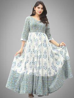 Buy Online Authentic Hand Block Printed Indian Dresses, Ajrakh Dresses at InduBindu. Best collection of Hand Printed Dresses. Cotton Gowns, Cotton Long Dress, Long Gown Dress, Long Gowns, Frock Fashion, Indian Fashion Dresses, Indian Gowns Dresses, Long Dress Design, Stylish Dress Designs